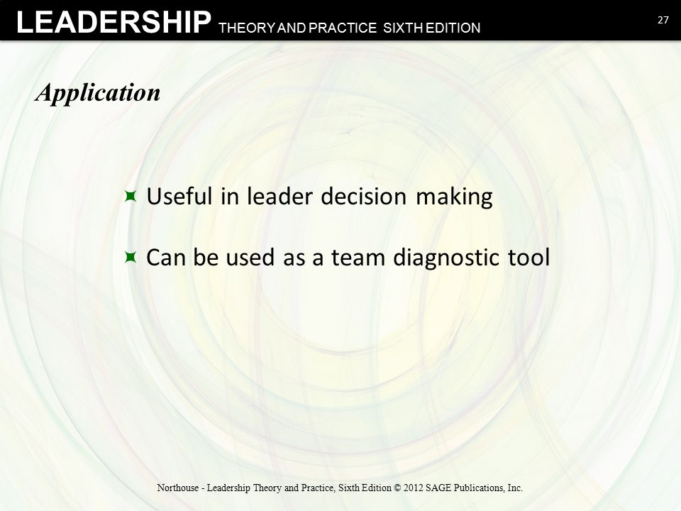 Useful in leader decision making Can be used as a team diagnostic tool