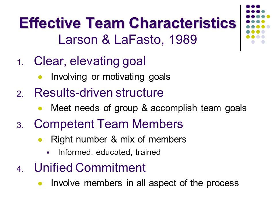 Effective Team Characteristics Larson & LaFasto, 1989