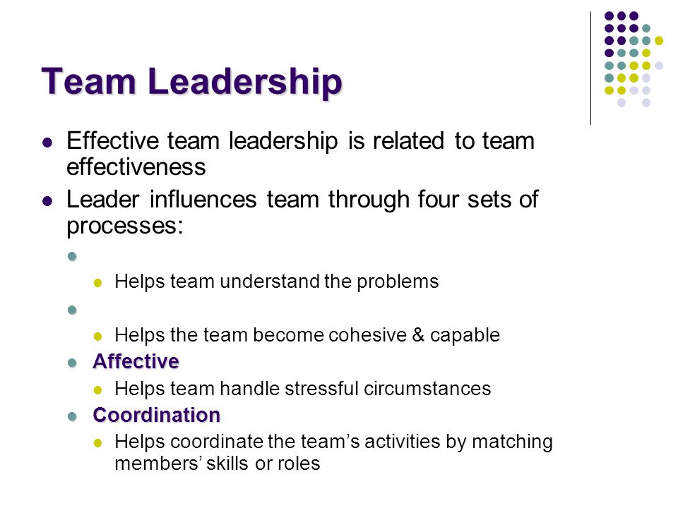 Team Leadership Effective team leadership is related to team effectiveness. Leader influences team through four sets of processes: