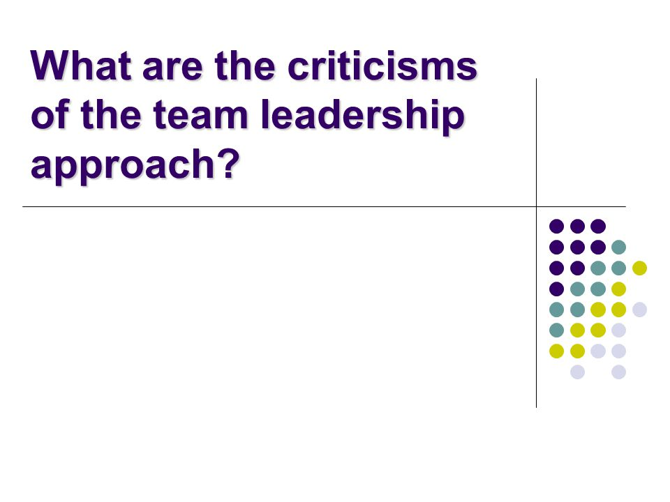 What are the criticisms of the team leadership approach