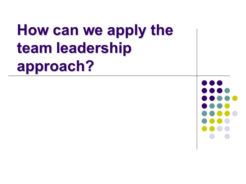 How can we apply the team leadership approach