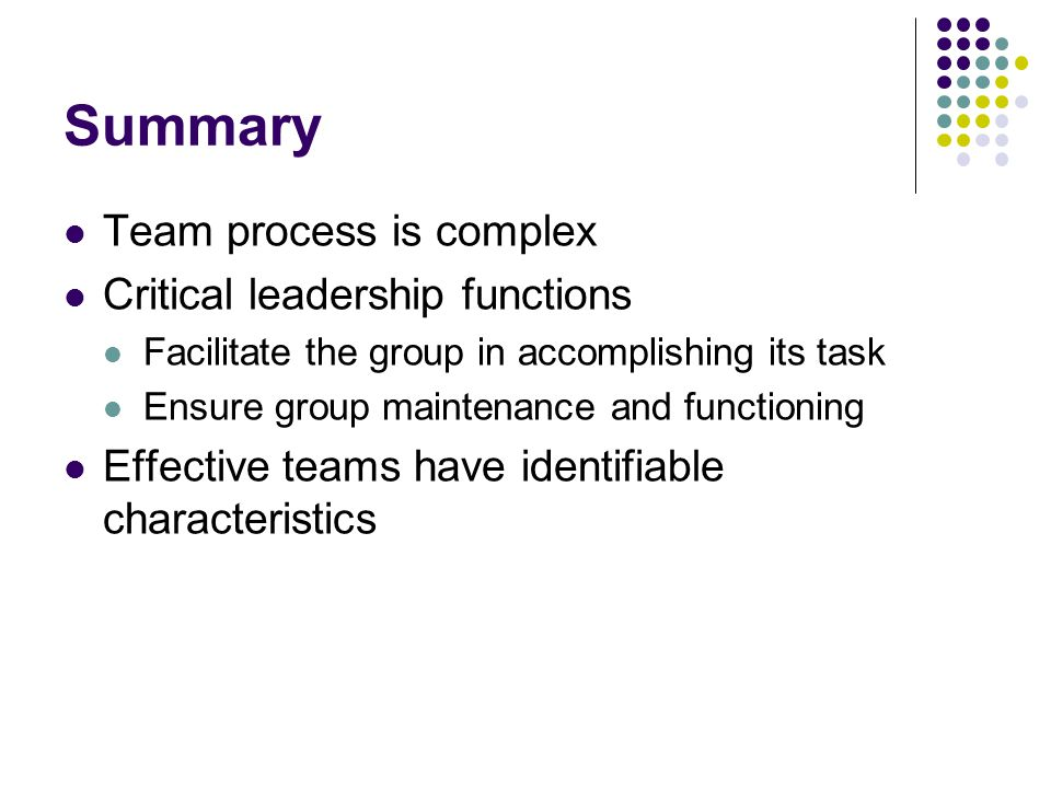 Summary Team process is complex Critical leadership functions