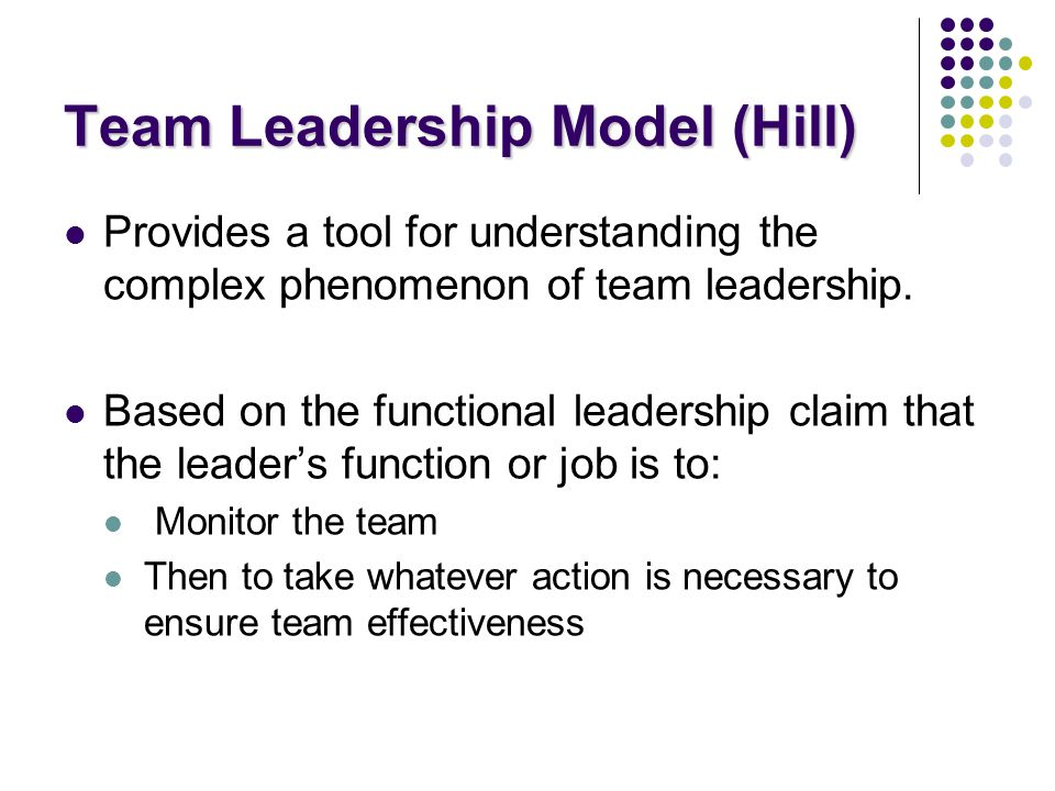 Team Leadership Model (Hill)