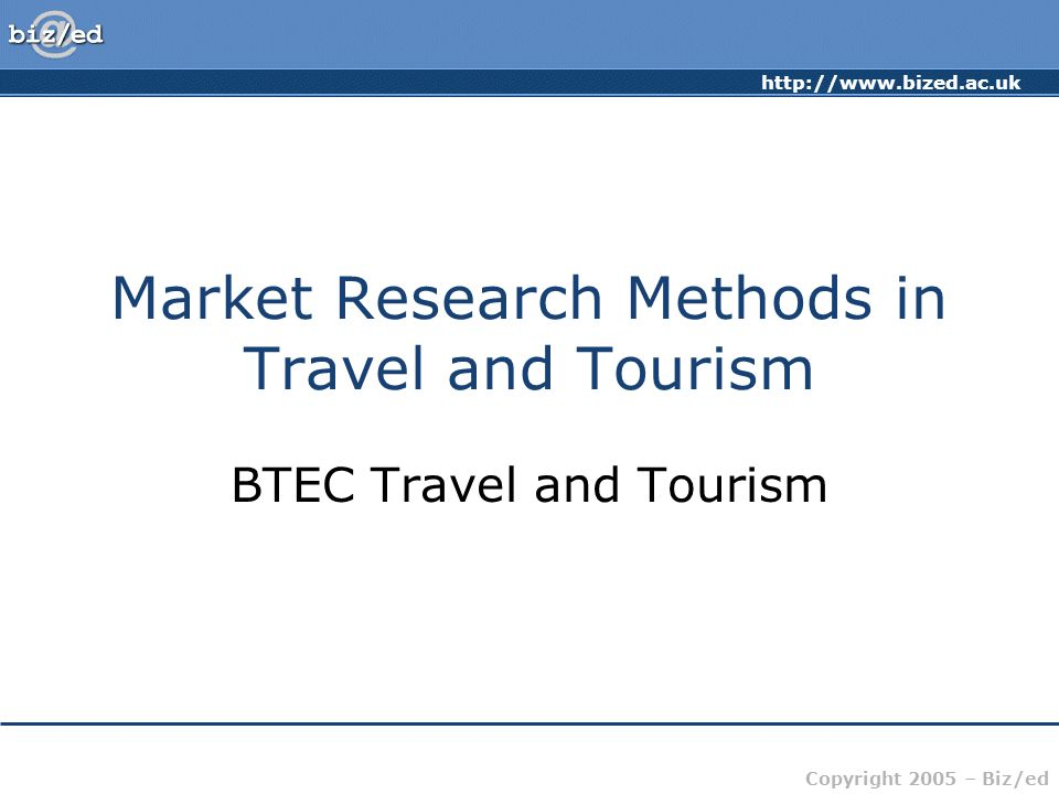 Market Research Methods in Travel and Tourism