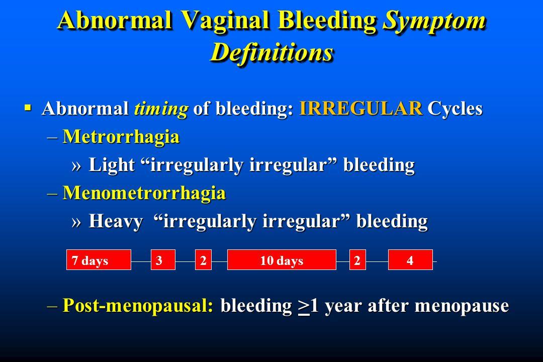 Abnormal Vaginal Bleeding Symptom Definitions