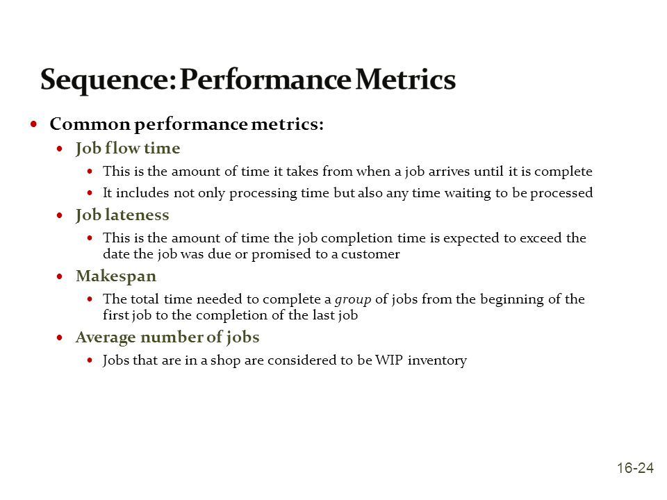 Sequence: Performance Metrics