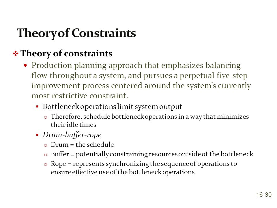 Theory of Constraints Theory of constraints