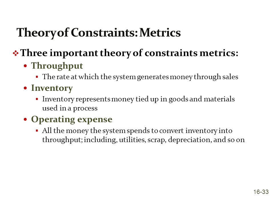 Theory of Constraints: Metrics