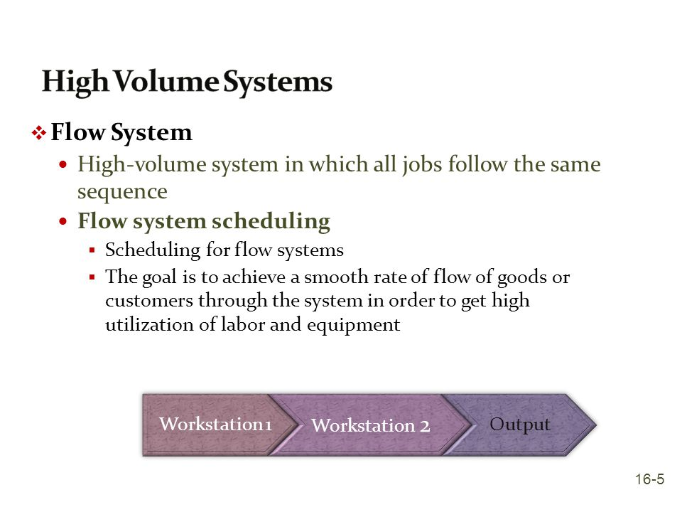 High Volume Systems Flow System