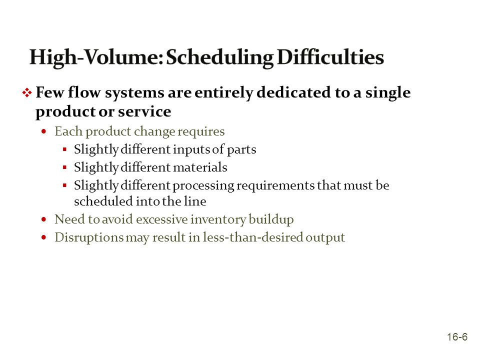 High-Volume: Scheduling Difficulties
