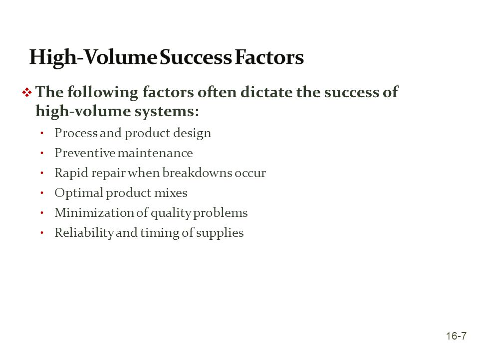 High-Volume Success Factors