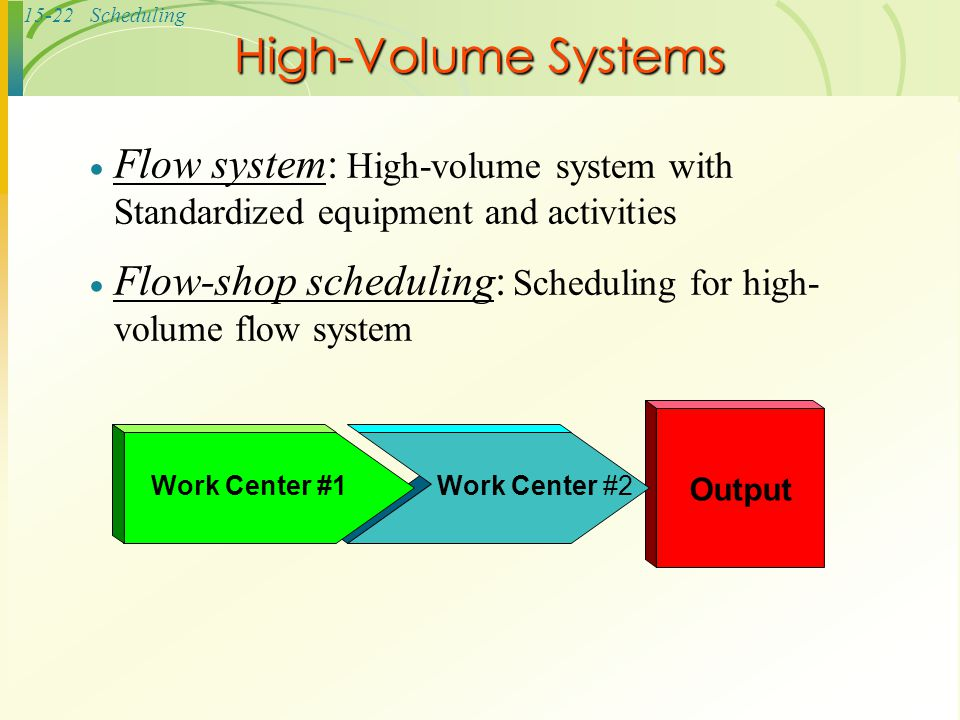 High-Volume Systems Flow system: High-volume system with Standardized equipment and activities.