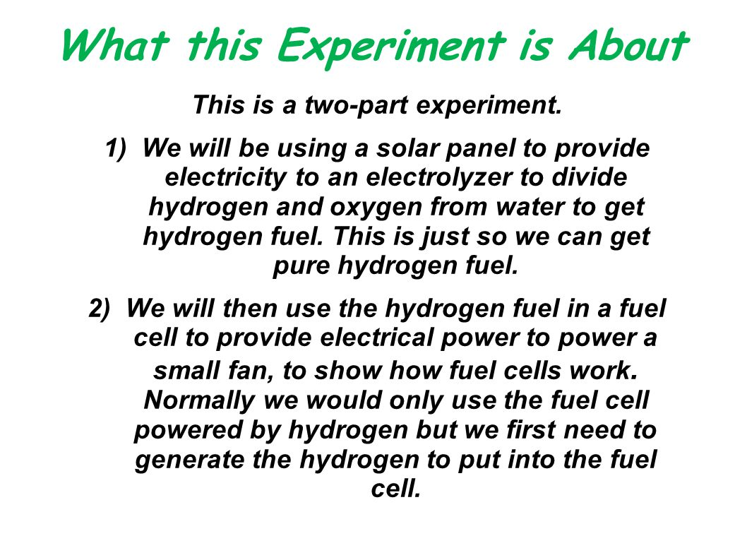 What this Experiment is About