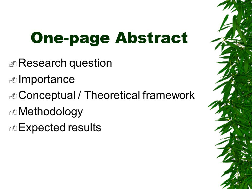 One-page Abstract Research question Importance