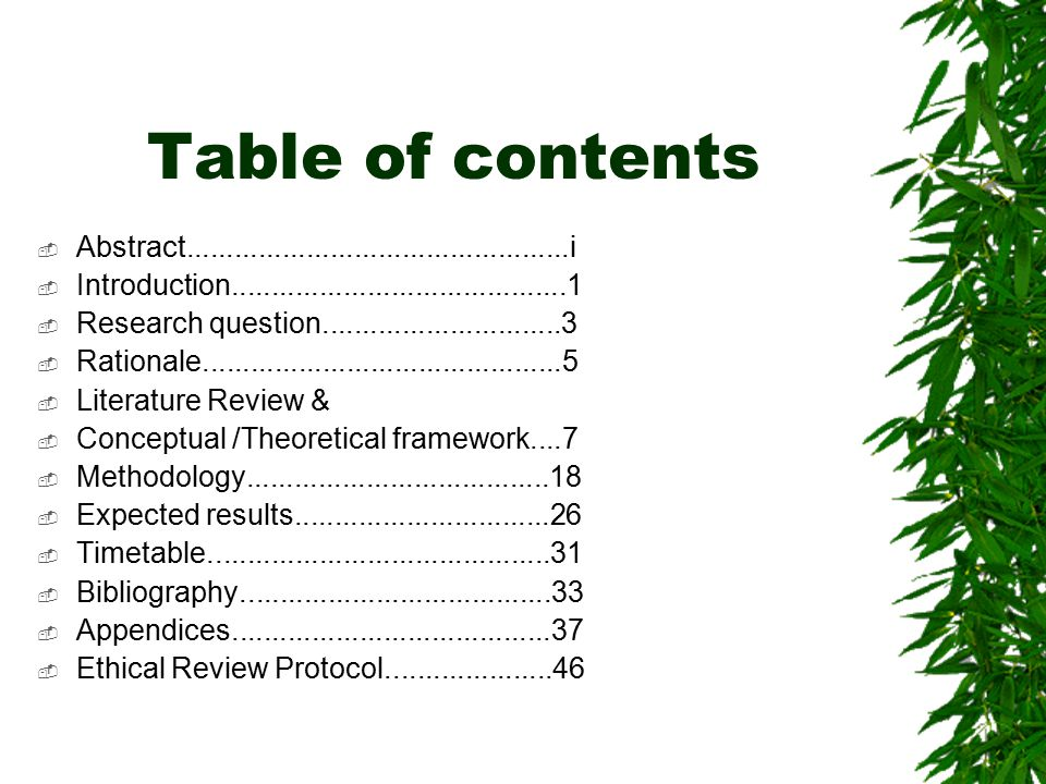 Table of contents Abstract i. Introduction