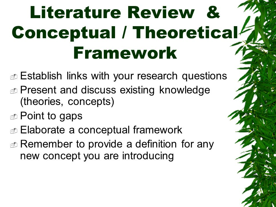 Literature Review & Conceptual / Theoretical Framework