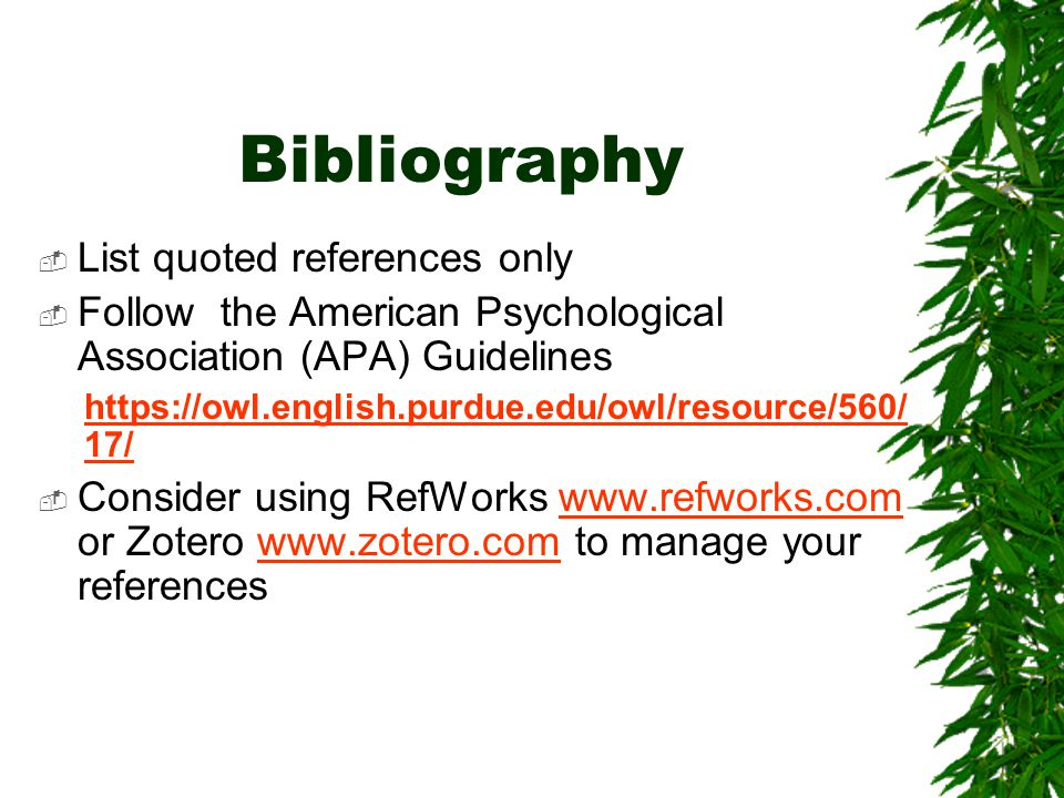 Bibliography List quoted references only