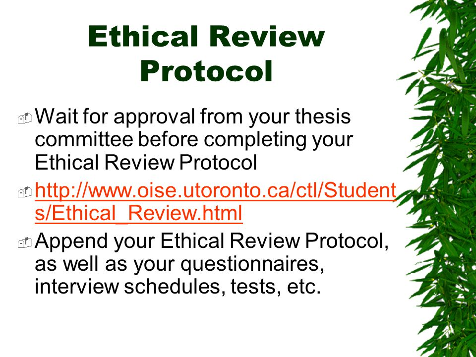 Ethical Review Protocol