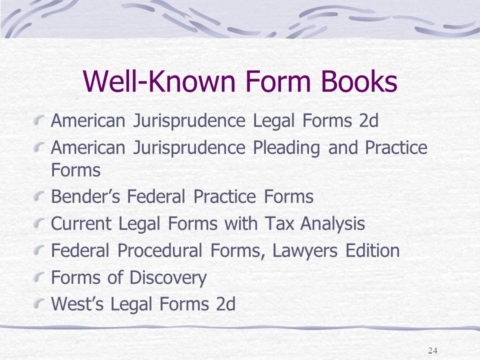 Legal Research Legal Research Writing II Mike Brigner JD Ppt - American legal forms