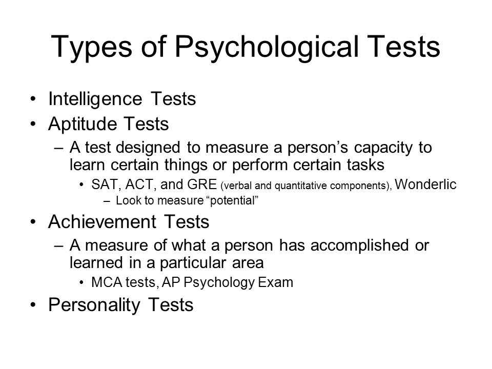 Types of Psychological Tests