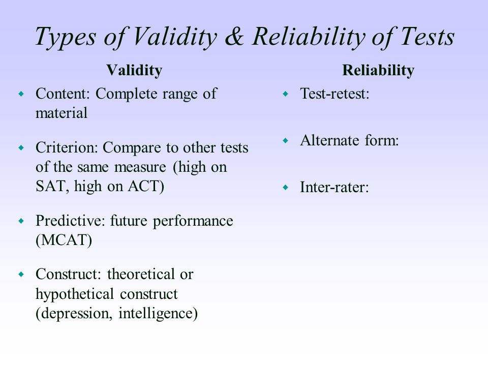 Types of Validity & Reliability of Tests