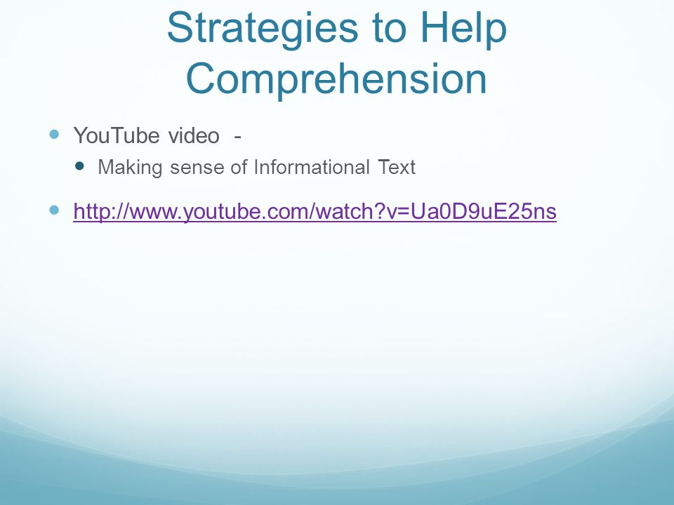 Strategies to Help Comprehension