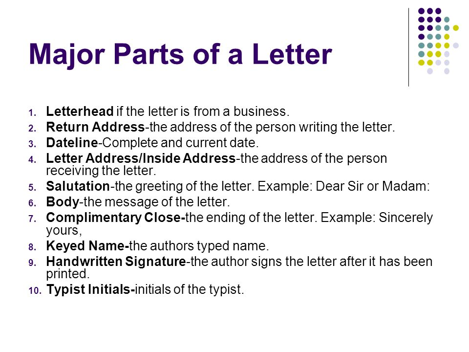 major parts of a letter letterhead if the letter is from a business