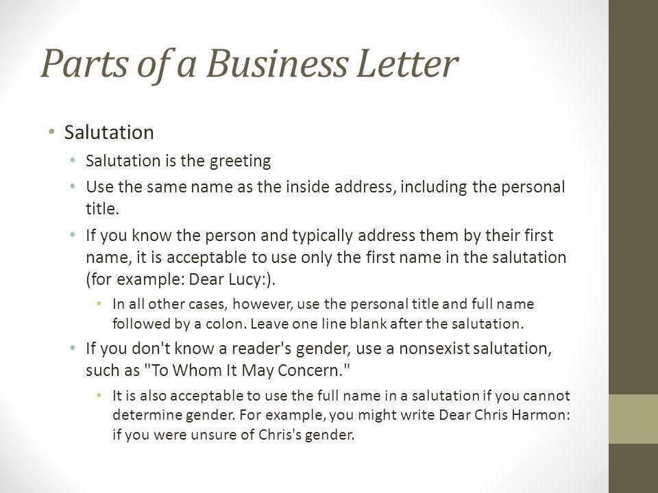 Salutation In A Letter from slideplayer.com