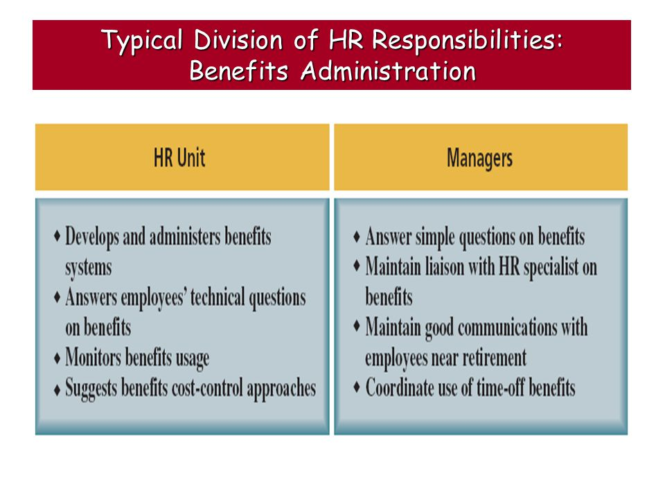 Typical Division of HR Responsibilities: Benefits Administration