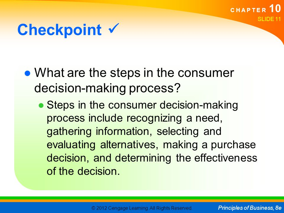 Checkpoint  What are the steps in the consumer decision-making process