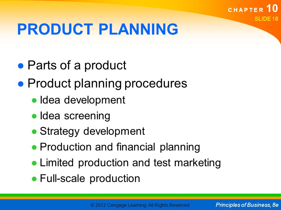 PRODUCT PLANNING Parts of a product Product planning procedures