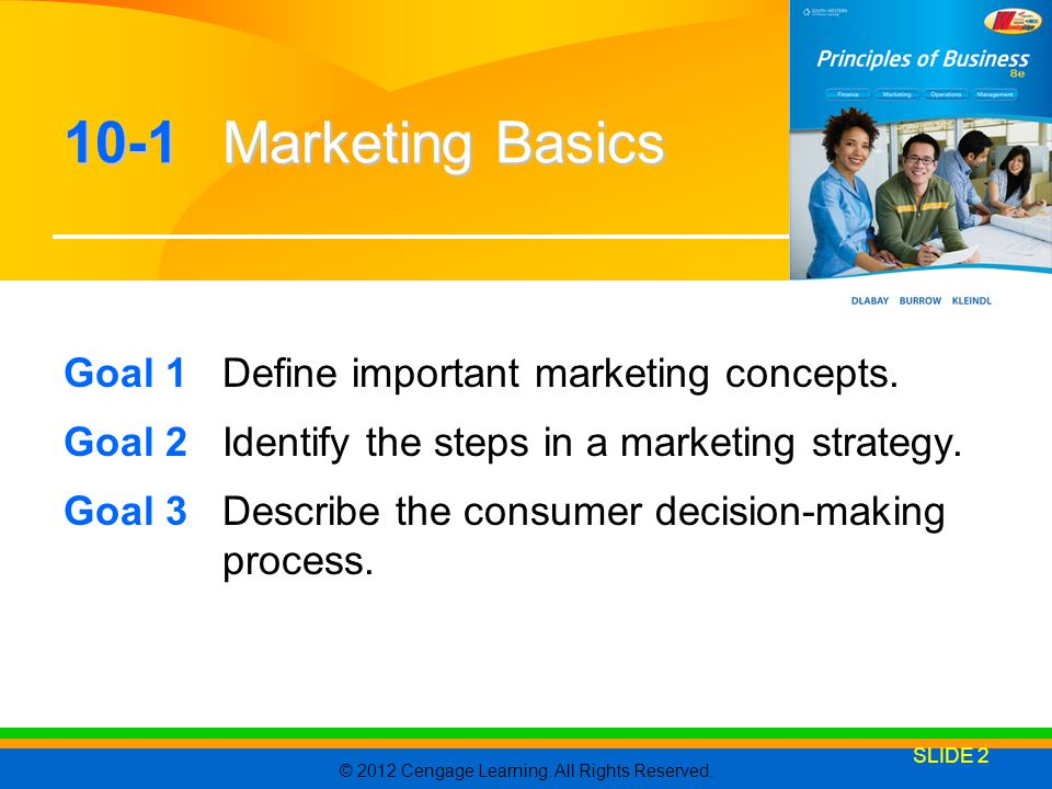 10-1 Marketing Basics Goal 1 Define important marketing concepts.