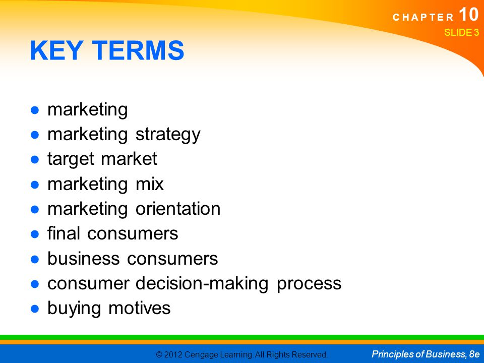 KEY TERMS marketing marketing strategy target market marketing mix
