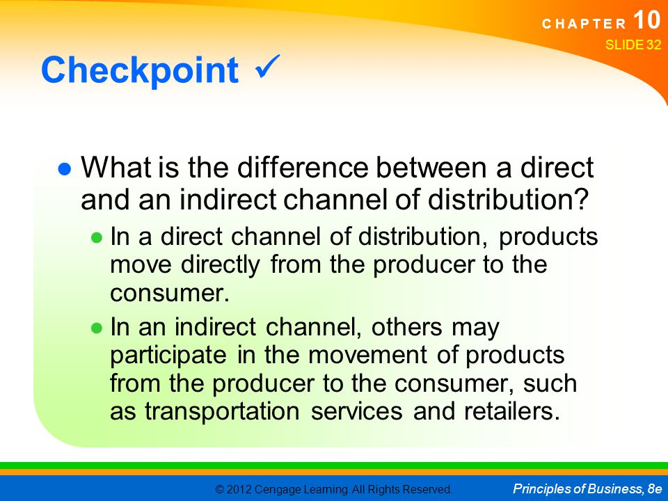 Checkpoint  What is the difference between a direct and an indirect channel of distribution