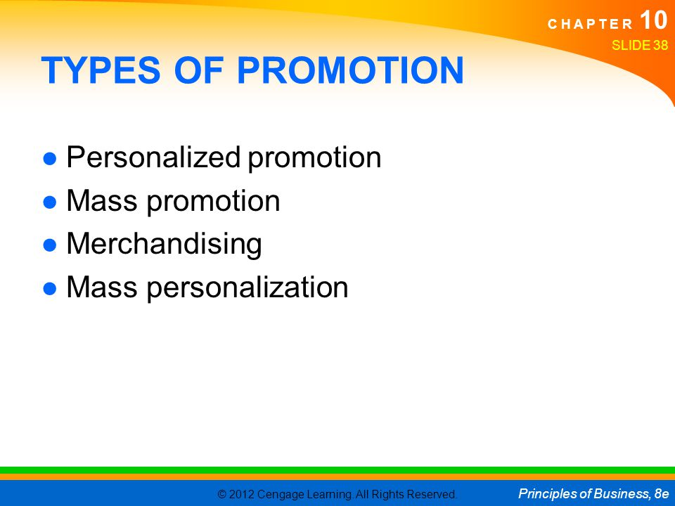TYPES OF PROMOTION Personalized promotion Mass promotion Merchandising
