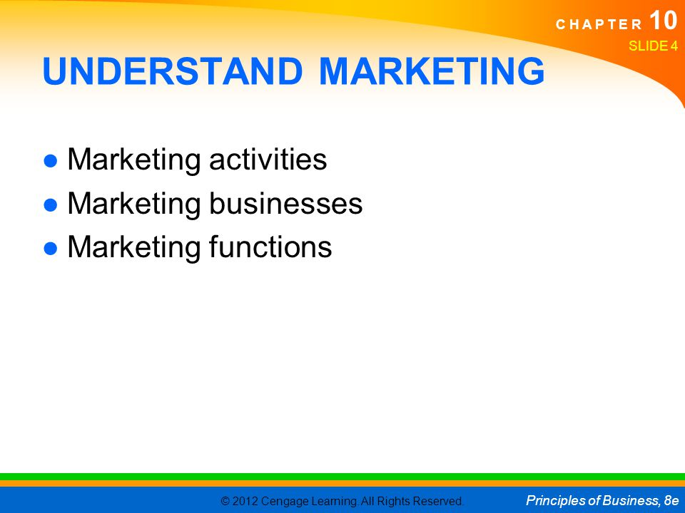 UNDERSTAND MARKETING Marketing activities Marketing businesses