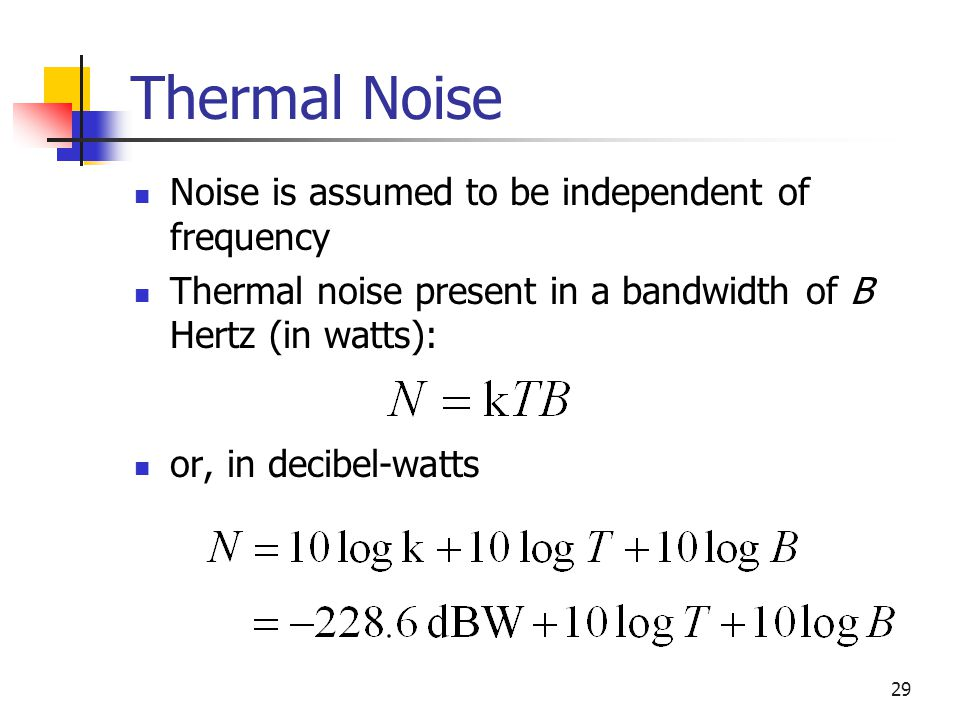 Thermal Noise Noise is assumed to be independent of frequency