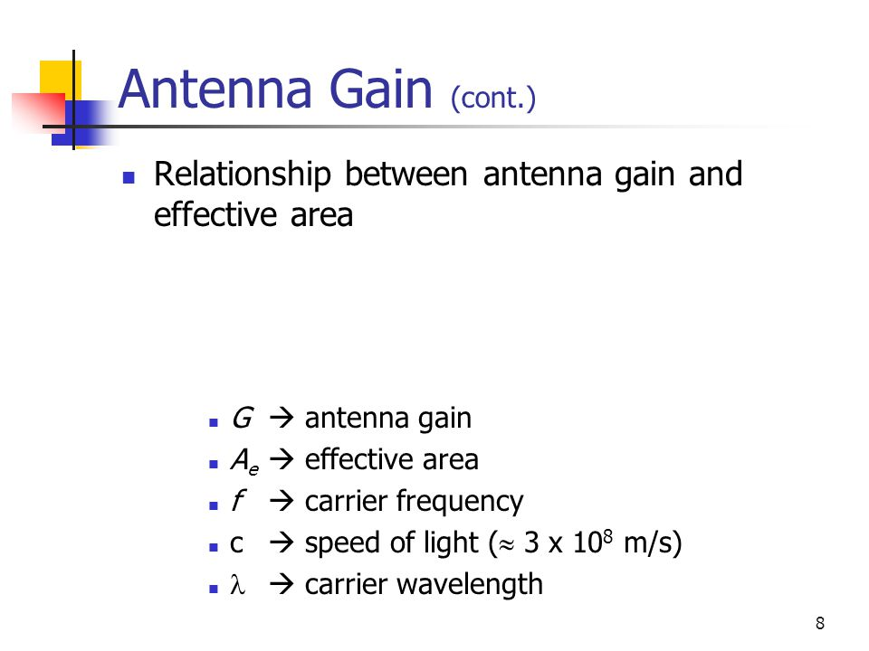 Antenna Gain (cont.) Relationship between antenna gain and effective area. G  antenna gain. Ae  effective area.