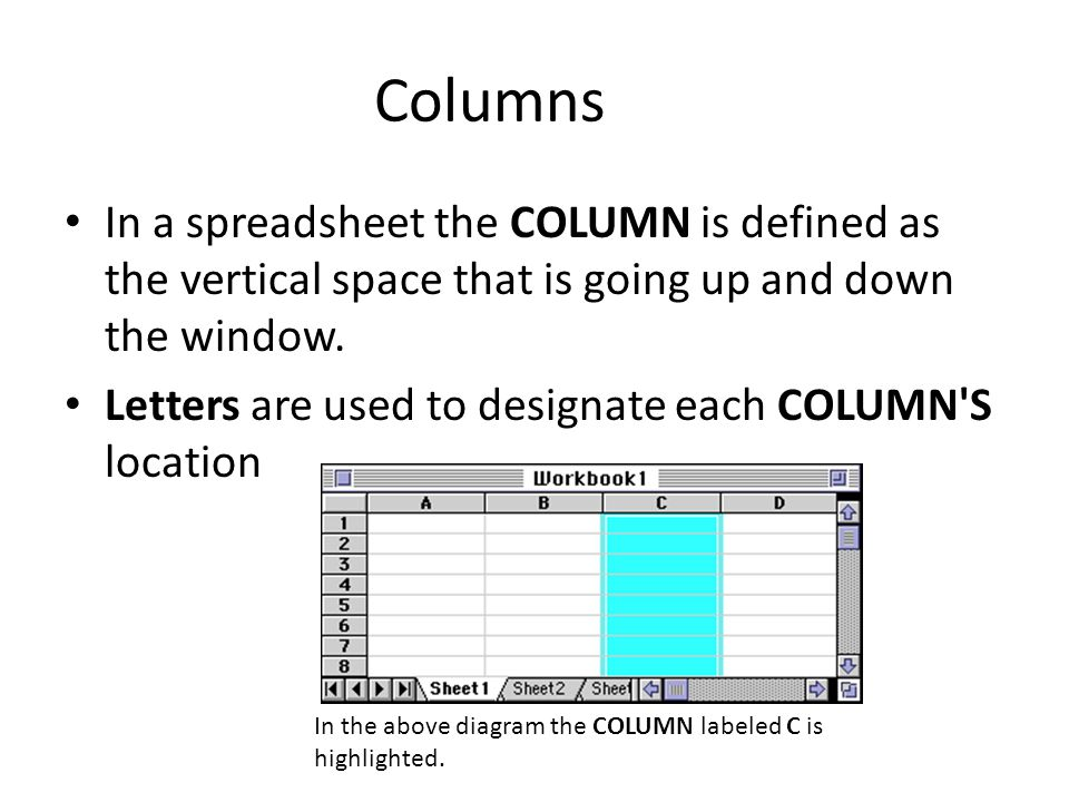 columns in a spreadsheet the column is defined as the vertical space that is going up