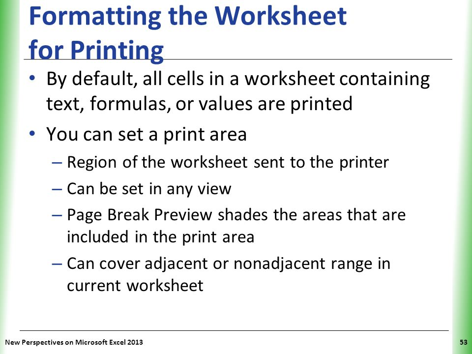 Tutorial 2 Formatting Workbook Text And Data Ppt Video Online Download. Formatting The Worksheet For Printing. Worksheet. Worksheet Range Text At Clickcart.co