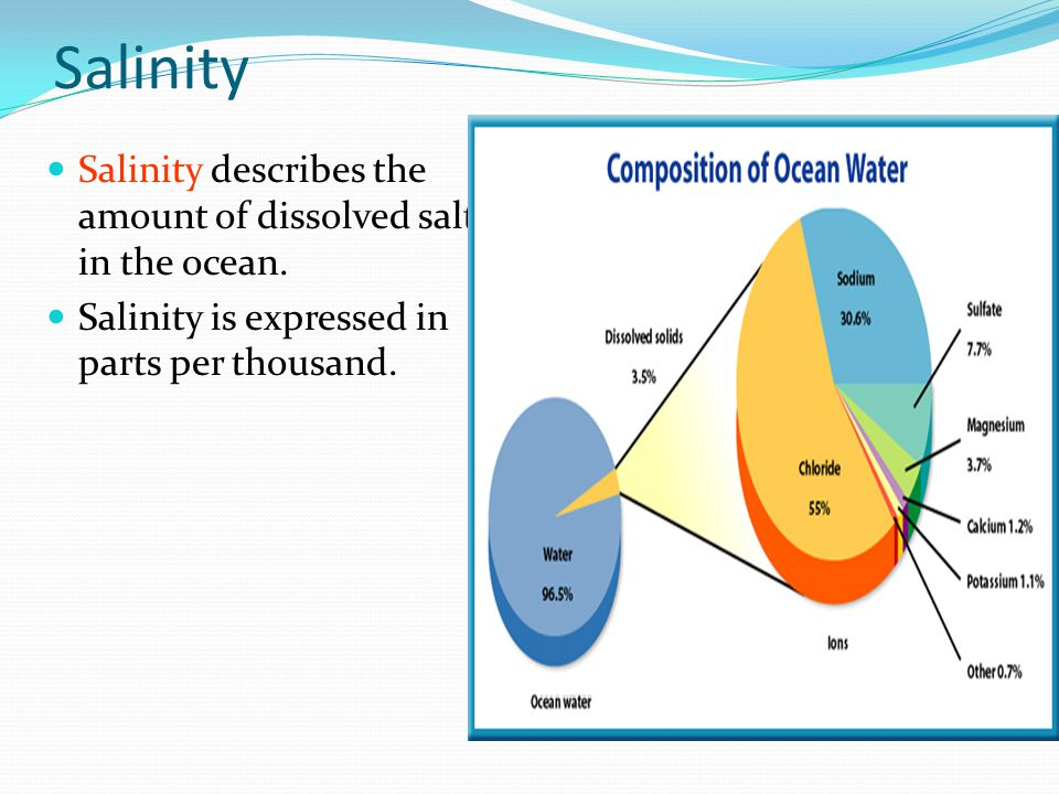 Salinity Salinity describes the amount of dissolved salt in the ocean.