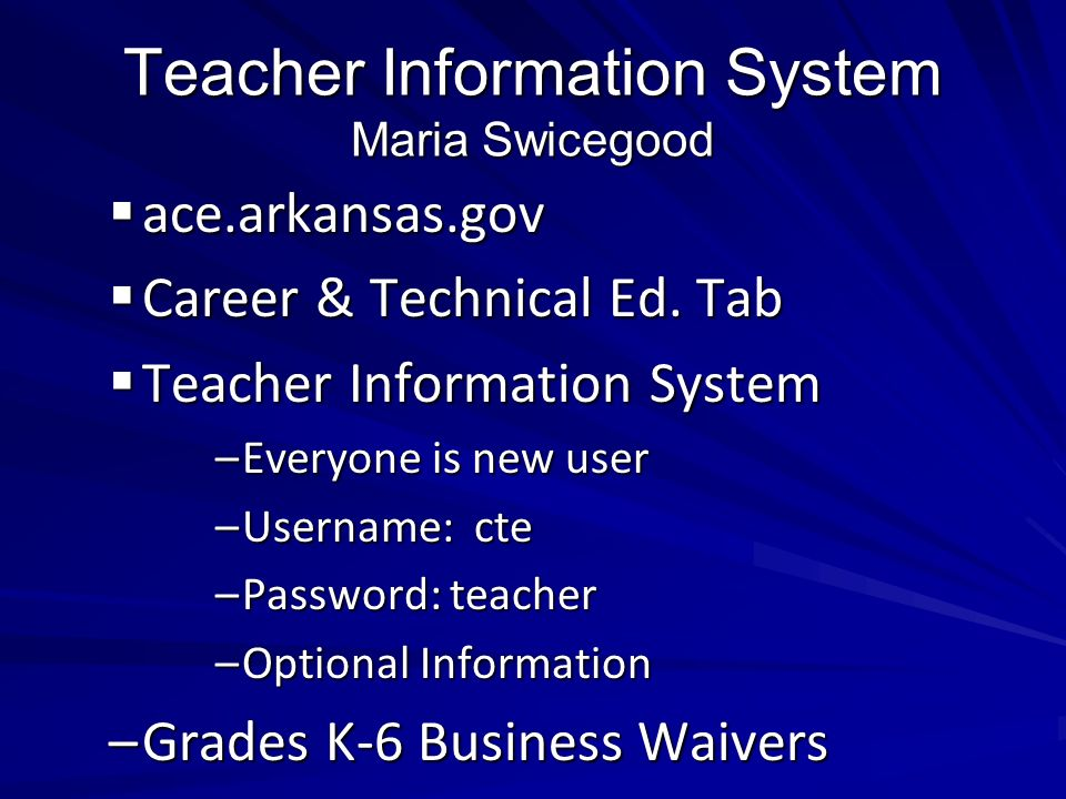 Teacher Information System Maria Swicegood