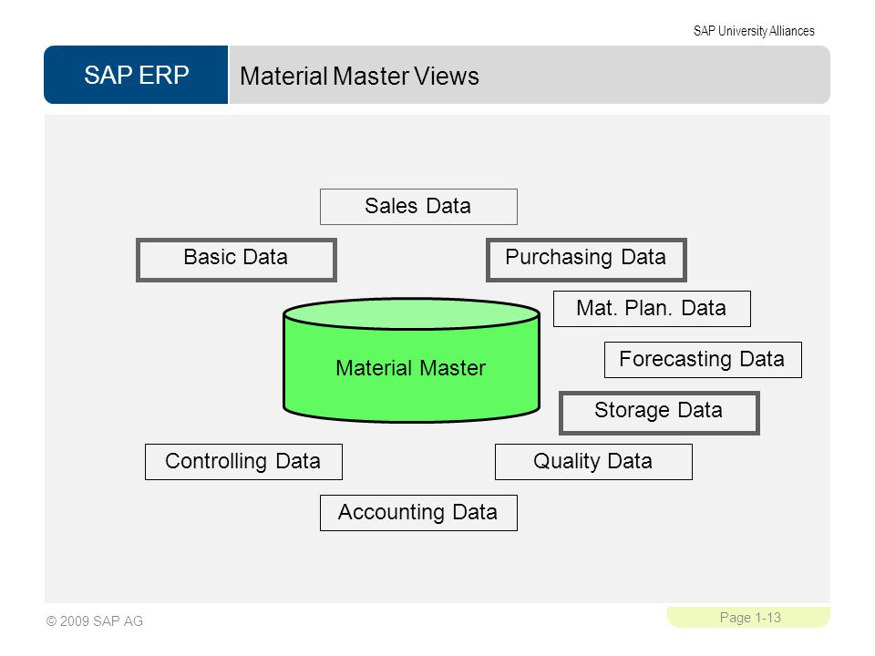 Material Master Views Material Master Basic Data Sales Data