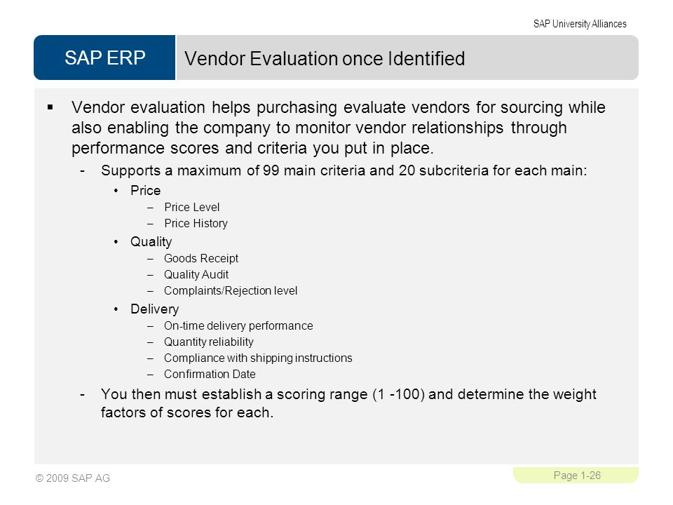Vendor Evaluation once Identified