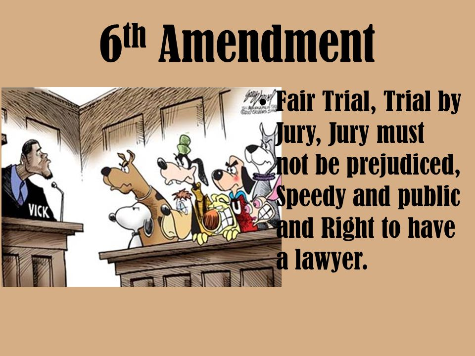6th Amendment Fair Trial, Trial by Jury, Jury must not be prejudiced, Speedy and public and Right to have a lawyer.
