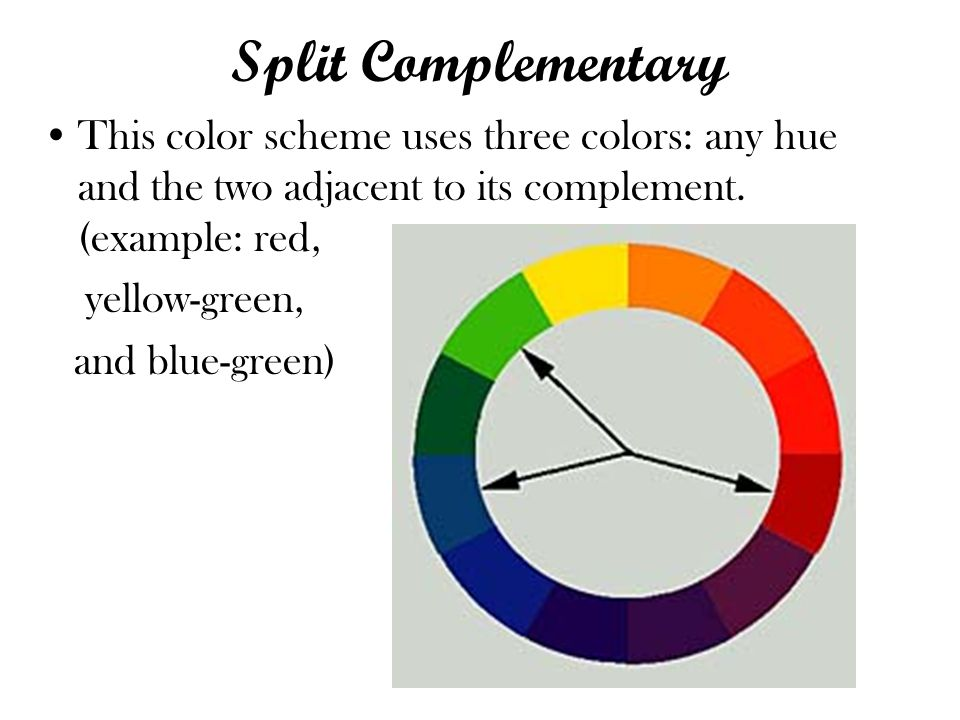 Split Complementary This color scheme uses three colors: any hue and the two adjacent to its complement. (example: red,