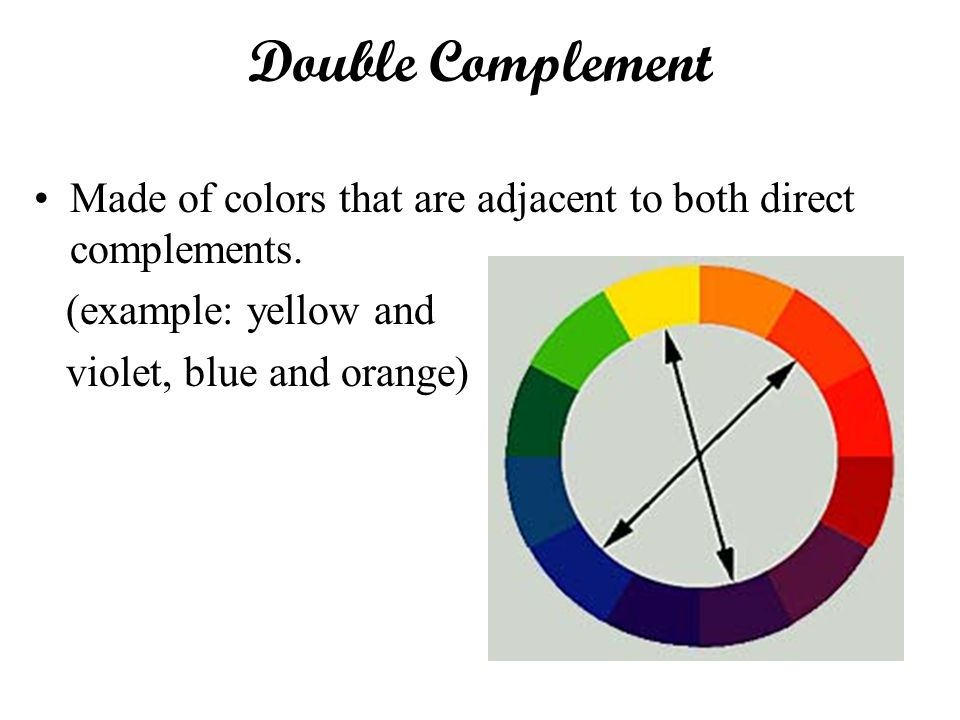 Double Complement Made of colors that are adjacent to both direct complements. (example: yellow and.