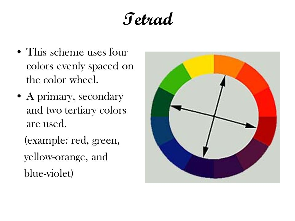 Tetrad This scheme uses four colors evenly spaced on the color wheel.