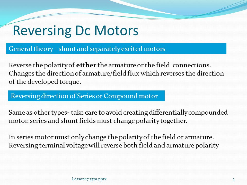 Lesson 17 other dc motor connections ppt video online download reversing dc motors general theory shunt and separately excited motors sciox Gallery