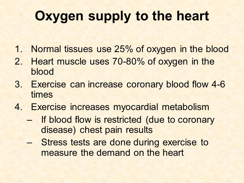 Oxygen supply to the heart